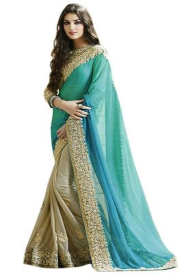 Buy Fabliva Sky & Beige Georgette & Lycra Embroidered Saree online