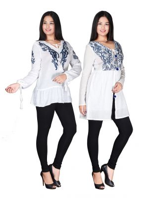 Buy Jollify Womens Blue And Black Rayon Cut Shoulder Top Combo(Pak Of 2) online