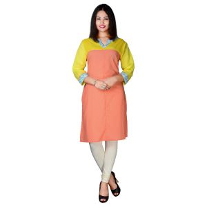 Buy Sejora Cotton Rayon Mandarin Neck 3/4Th Sleeve Kurti For Women online
