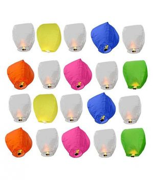Buy Shopoj Textured Sky Lanterns - Pack Of 25 online