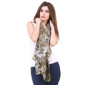 Buy Hive91 Women Scarf in Military Green Color Poly Cotton size online