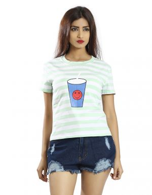 Buy Snob Bee Light Blue Stripes Graphic Tee online