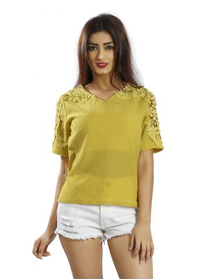 Buy Snob Bee Yellow Crochet Detail Top online
