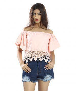 Buy Snob Bee Pink Lacey Hem Off Shoulder Top online