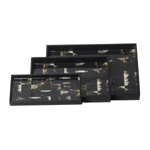 Buy Monogram 3 Pcs Set MDF Wooden Serving Tray With Special Coating - BLACK online