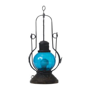 Buy Monogram Decorative Round Glass Lamp - Blue Glass online