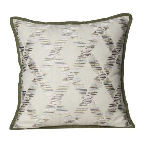 Buy Monogram Ivory Square Cotton Cushion Cover-3 Pcs Set-Ivory-Green online