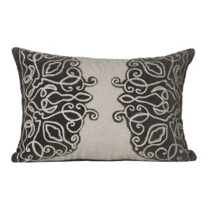 Buy Monogram Beige Rectangular Embroidery Cotton Cushion Cover-5 Pcs Set -Beige -Brown online