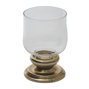 Buy Monogram Aluminium Candle Holder Hurricane Panel - Gold Finish-Glass online