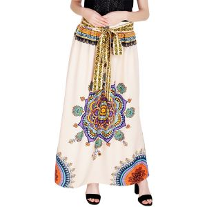 Buy Shivali  Printed Cream color  Poly Cotton long Skirt online
