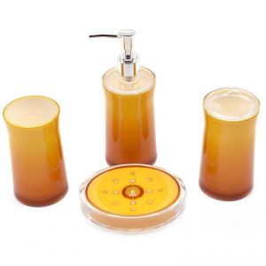 Buy Acrylic Bathroom Accessories Set Of 4 PC - Shiny Dual Shade - Yellow online