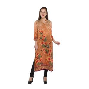 Buy Present Women Orange Pure Crepe Kurti ( Code-pc-3181-e) online
