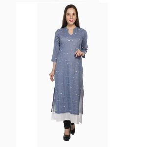Buy Present Women Blue Cotton Kurti ( Code-pc-3208a) online