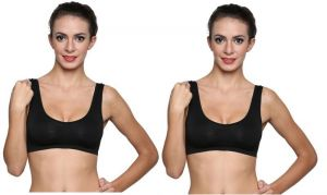 Buy Wetex Premium Pack Of 2 Seamless Black Air Bra Free Size online