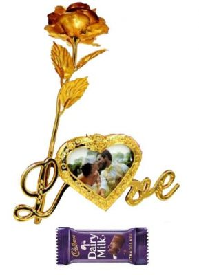 Buy Indigo Creatives Gift Classy Love Memoir 24k Golden Rose With Photo Frame And Chocolate online