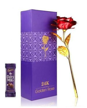 Buy Indigo Creatives Gift Classy Love Memoir 24k Gold Red Rose With Chocolate online