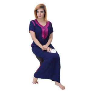 Buy Sleeping Story Women's Poly Cotton Self Design Nighty online