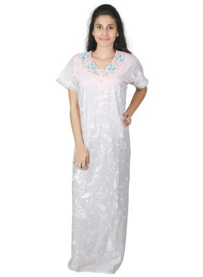 Buy Sleeping Story Floral Printed Cotton White Nighty For Women(code-5012-b) online
