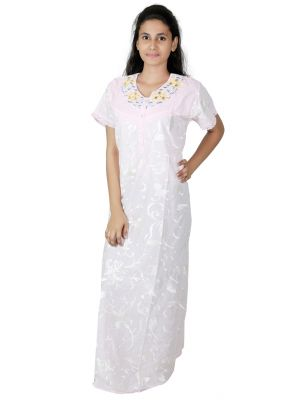 Buy Sleeping Story Printed Cotton Long White Nighty For Women(code-5012-c) online