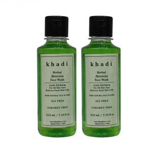 Buy Khadi Herbal Aloevera Face Wash Sls-paraben Free - 210ml (set Of 2) online