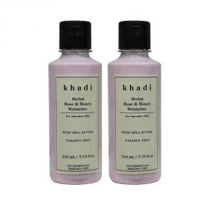 Buy Khadi Herbal Rose & Honey Moisturizer With Sheabutter Sls-paraben Free - 210ml (set Of 2) online