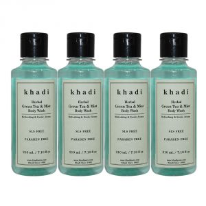 Buy Khadi Herbal Green Tea & Mint Body Wash Sls-paraben Free - 210ml (set Of 4) online