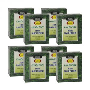 Buy Khadi Pure Herbal Black Mehndi - 80g (set Of 8) online