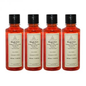 Buy Khadi Pure Herbal Orange & Lemongrass Massage Oil Paraffin-mineral Oil Free - 210ml (set Of 4) online