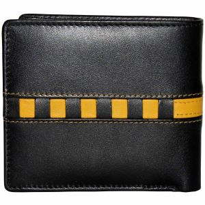 Buy Tamanna Men Black, Yellow Genuine Leather Wallet (7 Card Slots) online
