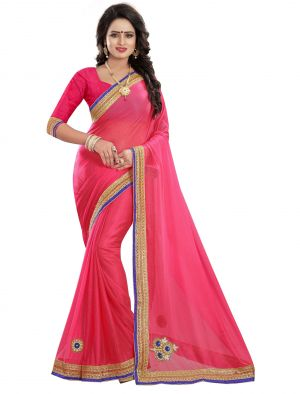 Buy Aj Tex Pink Lycra Embroidered Sarees online