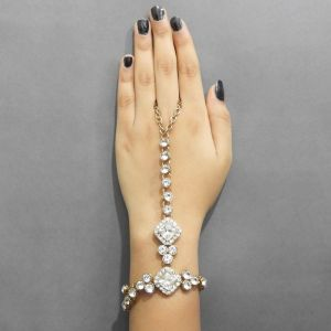 Buy Jewelmaze Gold Plated White Glass Stone Chain Hand Harness( Code - Faj0113) online