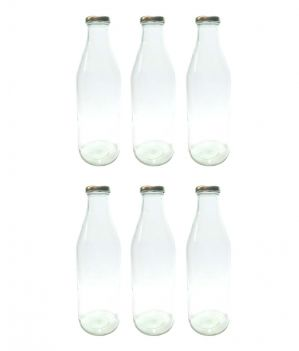 Buy Favola Premium Milk, Water, Oil And Juice Glass Bottle With Airtight, Rust Proof Golden Cap (pack Of 6 Bottle) online