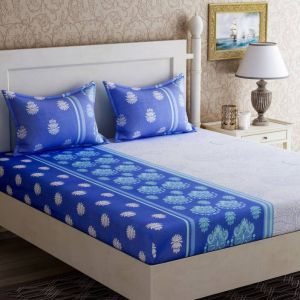 Buy Pure Cotton Double Bed-Sheets With 2 Pillow Covers from Panipat - Blue and White online