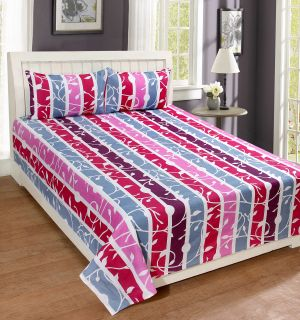 Buy Pure Cotton Double Bedsheet With 2 Pillow Covers from Panipat online