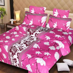 Buy Pure Cotton Pink Double Bedsheet & 2 Pillow Covers from Panipat online