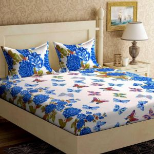 Buy Pure Cotton Double Bedsheet With Two Pillow Covers from Panipat - Blocks Pattern online