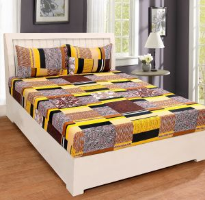 Buy Pure Cotton Multicolor Double Bedsheet & 2 Pillow Covers from Panipat online