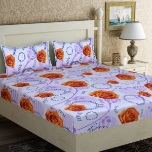Buy Pure Cotton Double Bedsheet & 2 Pillow Covers from Panipat - Orange Flower Pattern online