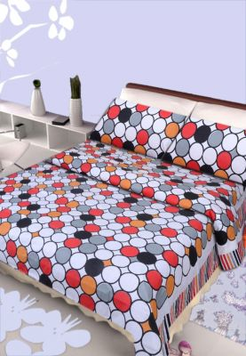 Buy Pure Cotton Double Bedsheet & 2 Pillow Covers from Panipat - Geometry pattern online