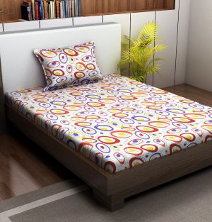 Buy Indiana Home 100 % Cotton Single Bed Sheet With 1 Pillow Cover online