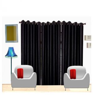 Buy Curtain 3 Piece Door Curtain, 7ft, Black online
