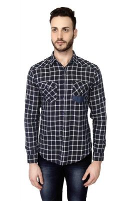 Buy Mr.Stag Men's Navy Blue Checkered Casual Full Sleeves Shirt online