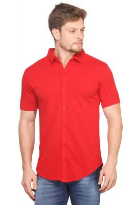 7a19562bba1a Buy Mr.Stag Men's Red Colour Casual Half Sleeves Shirt Online   Best ...