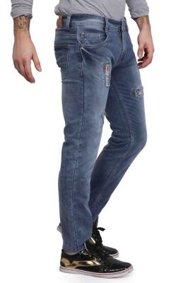 Buy Mr. Stag Men's Light Blue Patched Denim Jeans (code - Jeans Ng004) online
