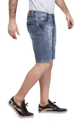 Buy Mr. Stag Men's Light Blue Patched Denim Shorts (code - Shorts Ng004) online