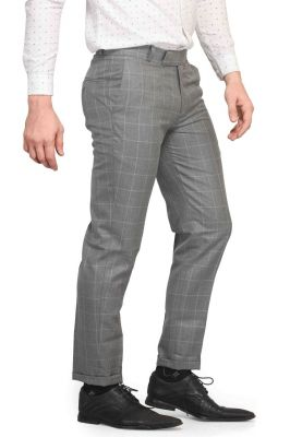 Buy Mr.stag Men's Grid Checks Grey Trousers (code - Trouser Ek002) online