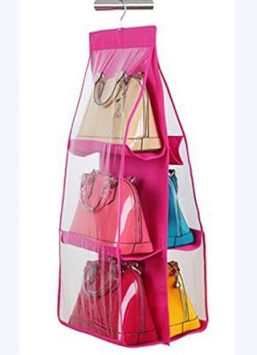 Buy Gadgetbucket 6-pocket Hanging Storage Rack For Handbag, Pink, 90x35x35cm online