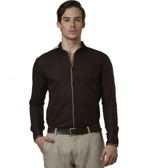 Buy Lisova Brown Mens Slub Cotton Plain Casual Slim Fit Shirt online