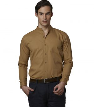 Buy Lisova Beige Men's Plain Formal Slim Fit Shirt online
