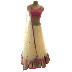 Buy Designer Net Embroidered Semi-stitched Lehenga Choli Materials ( Cream And Pink ) online